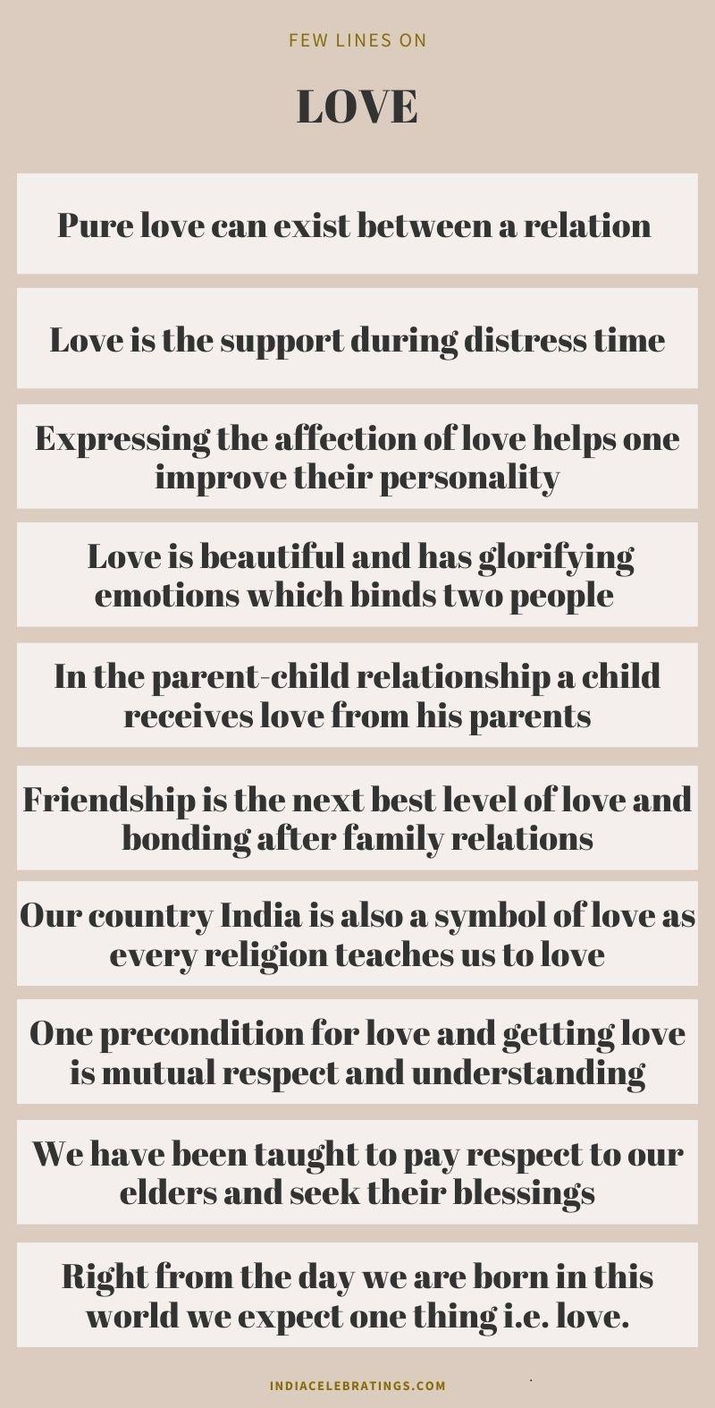 ten lines on love
